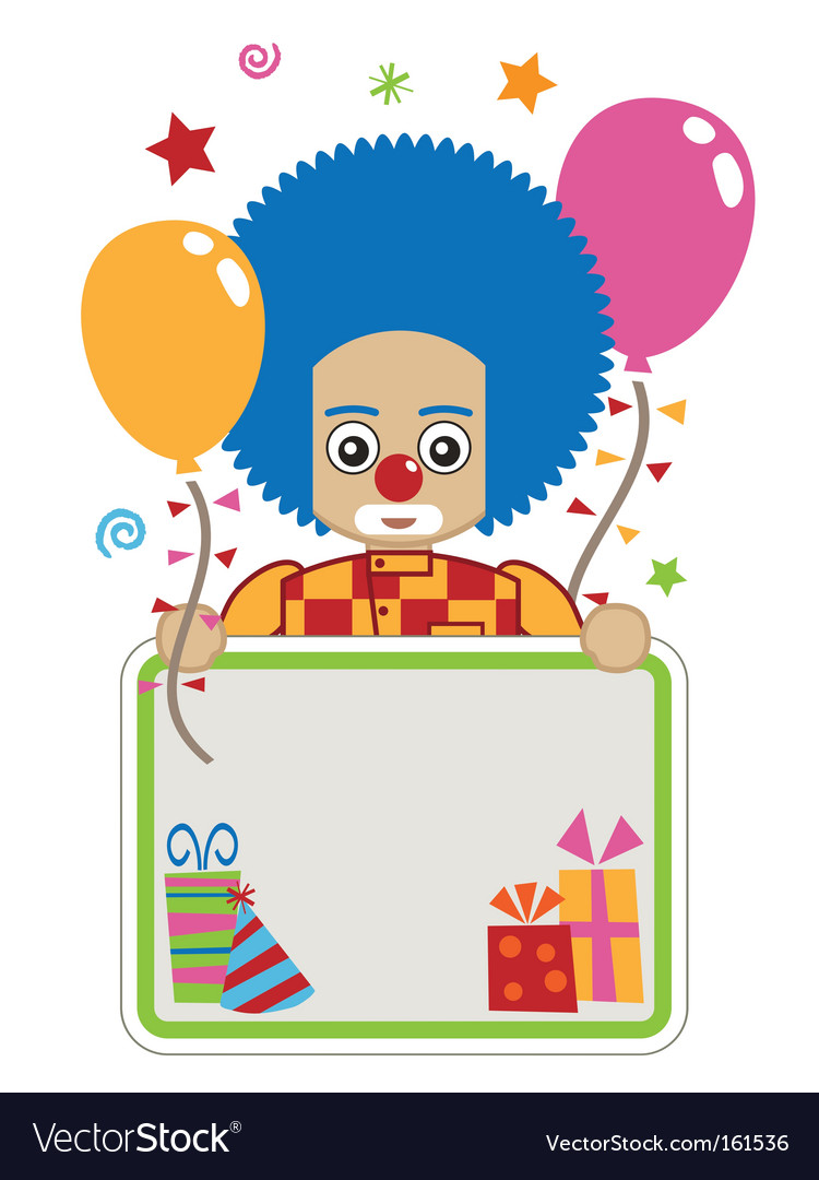 Clown party card vector image