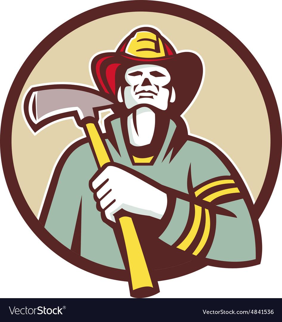 Fireman Firefighter Holding Fire Axe Circle Retro vector image