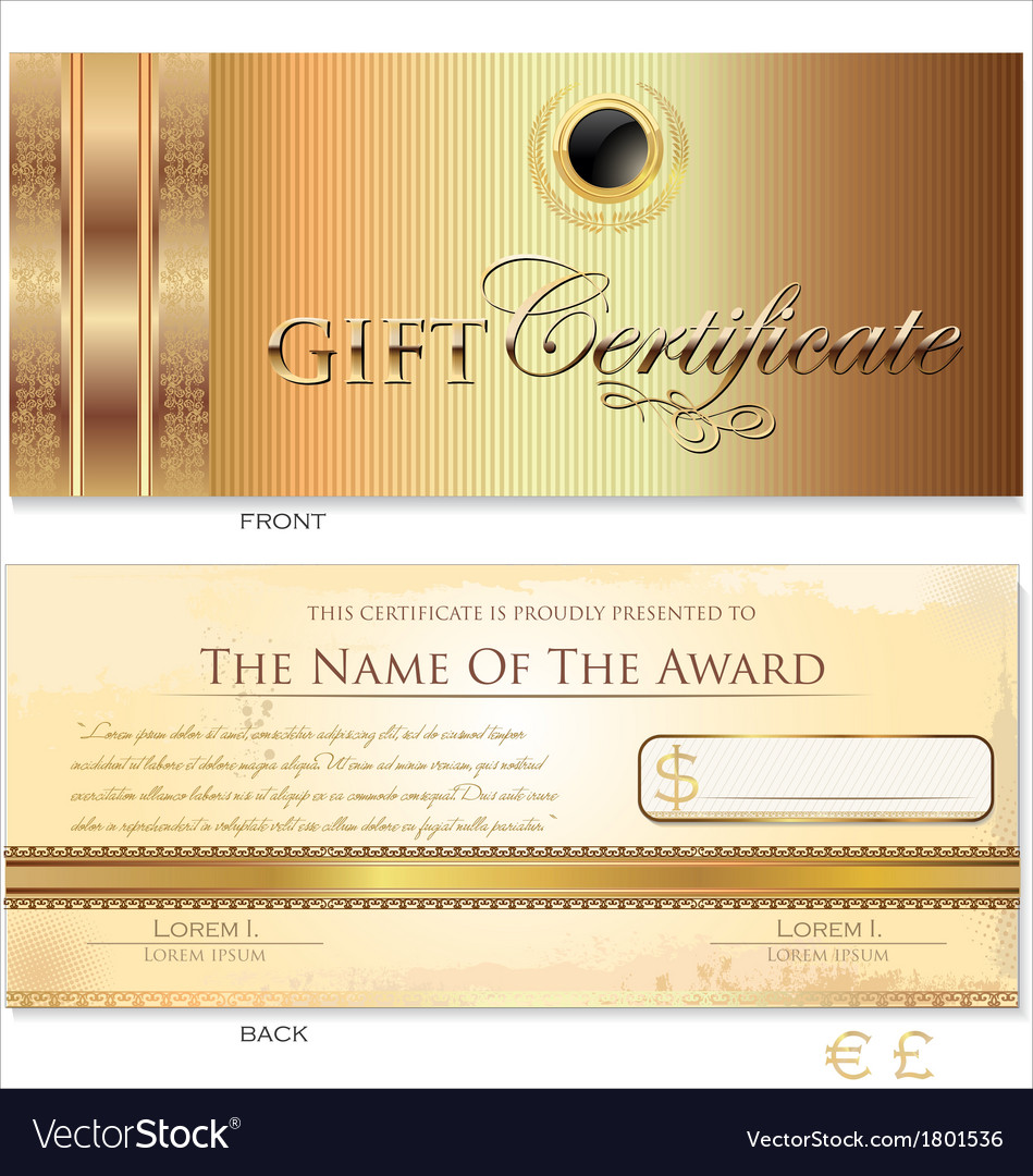 Gold gift certificate template royalty free vector image gold gift certificate template vector image yelopaper Gallery