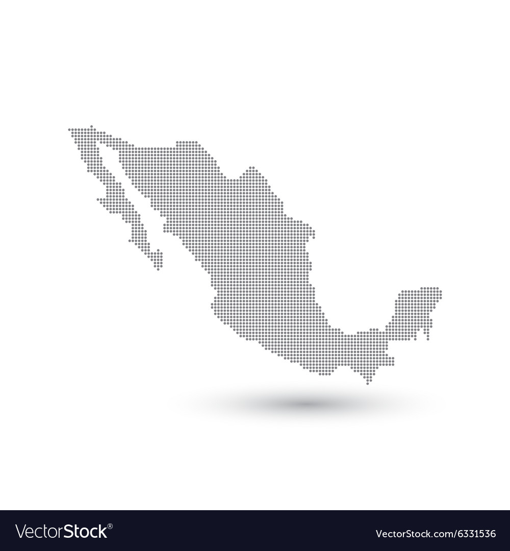 Grey Map Mexico In The Dot