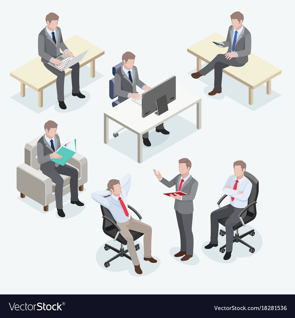 Group of business man isometric design