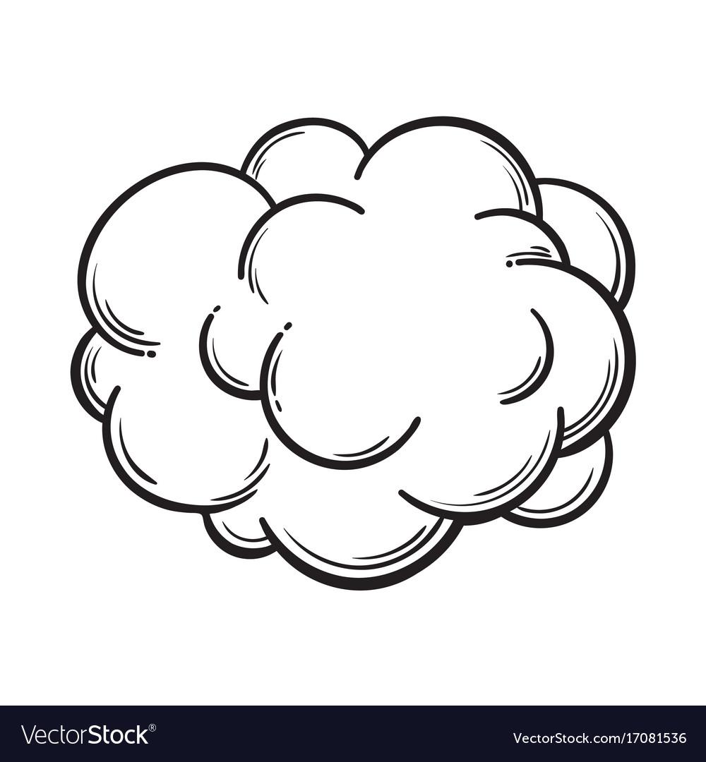 Hand drawn fog smoke cloud isolated comic