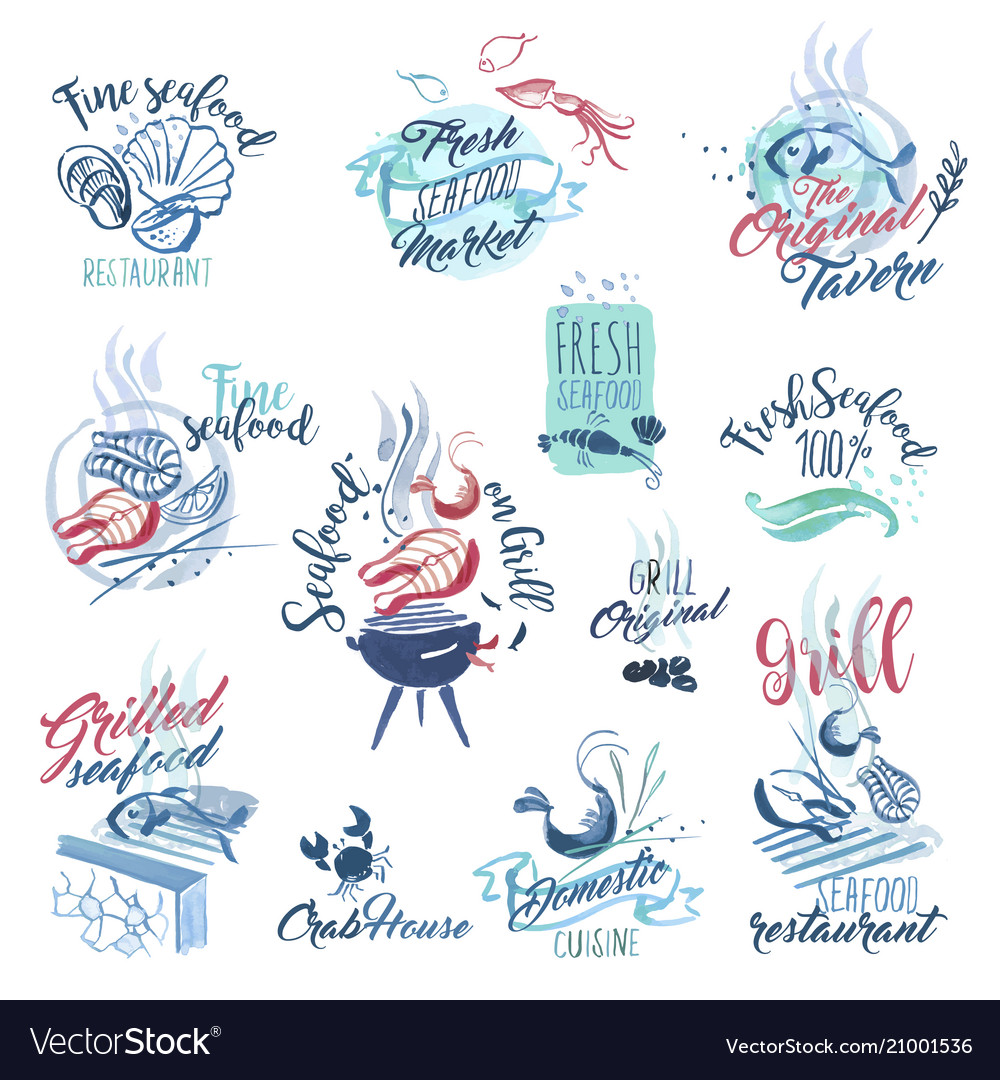 Hand drawn watercolor signs and sticker of seafood