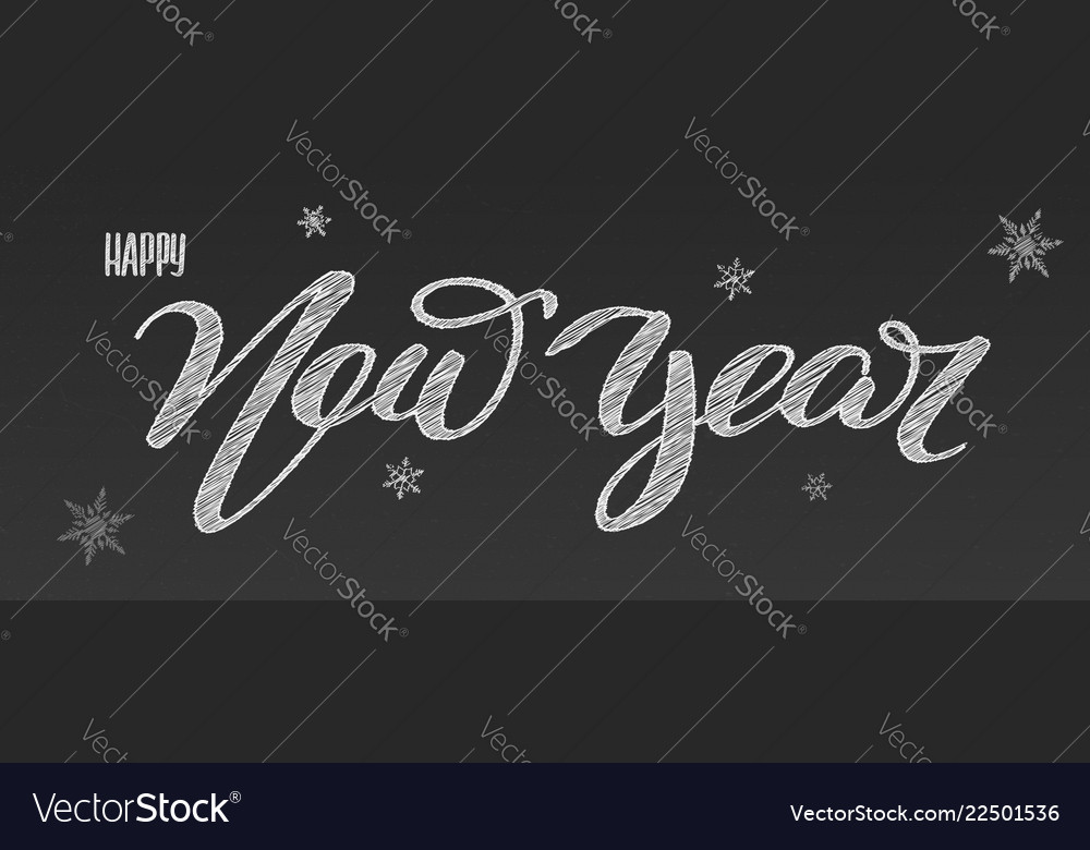 Happy new year holidays lettering handwritten