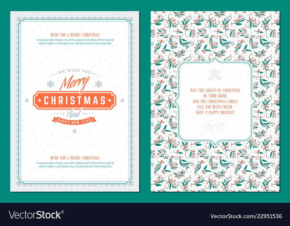 Merry Christmas Greeting Card Template Royalty Free Vector
