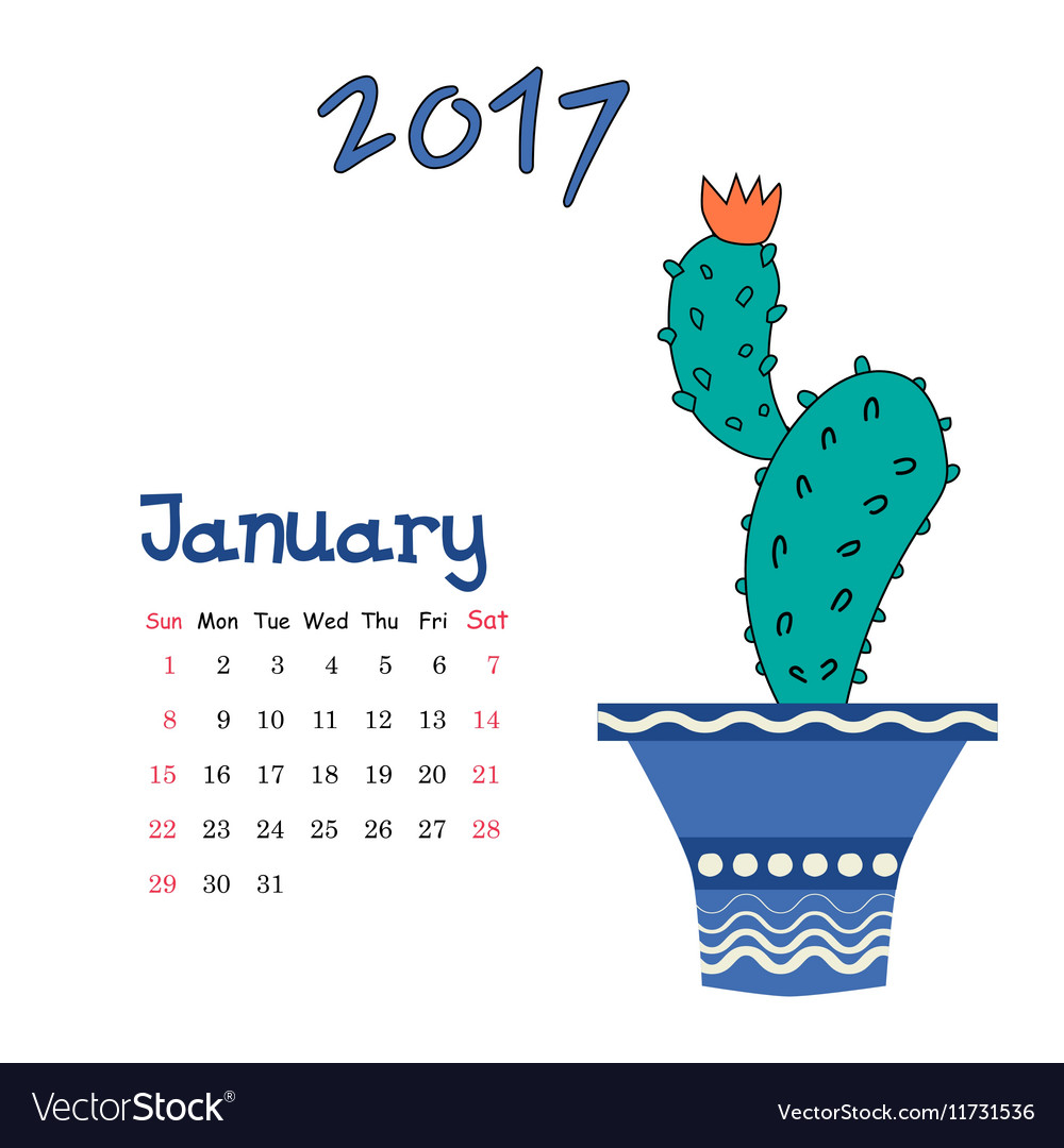 nice calendar template for january 2017 with cute vector image
