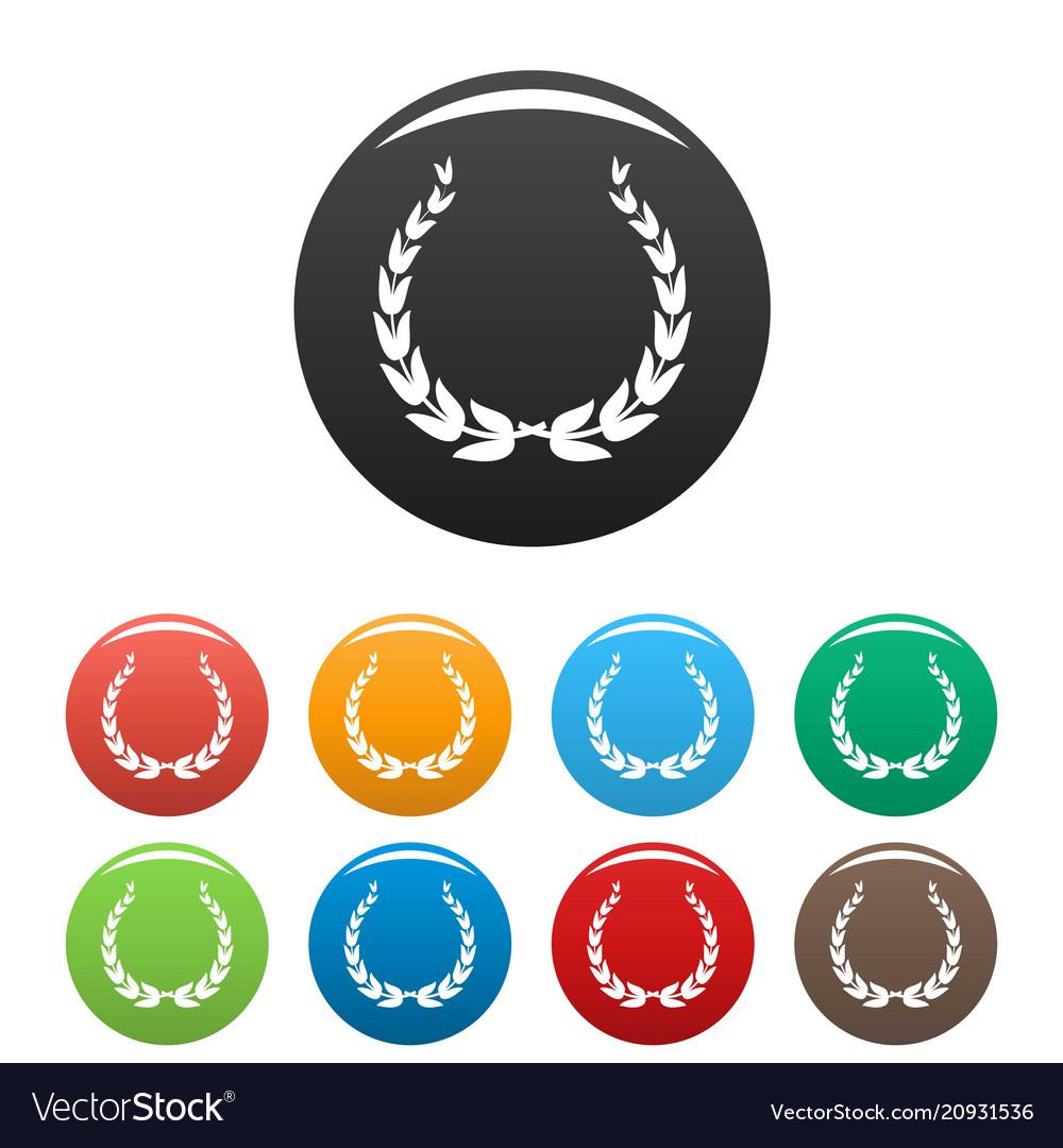 Royal wreath icons set color