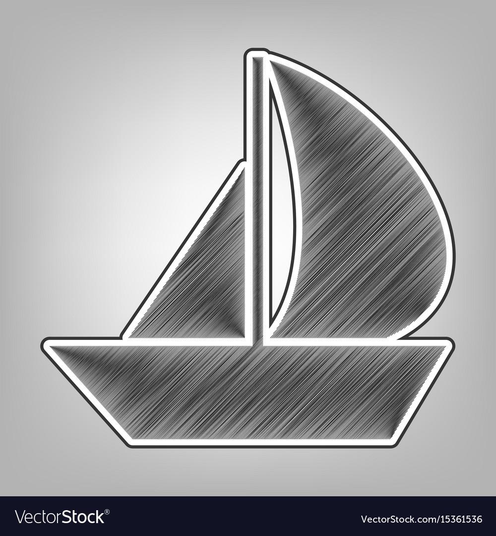 Sail boat sign pencil sketch imitation vector image