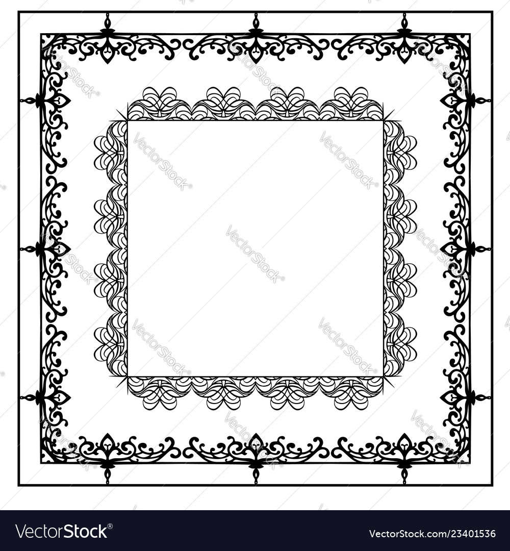 Set of calligraphic black and white frames the