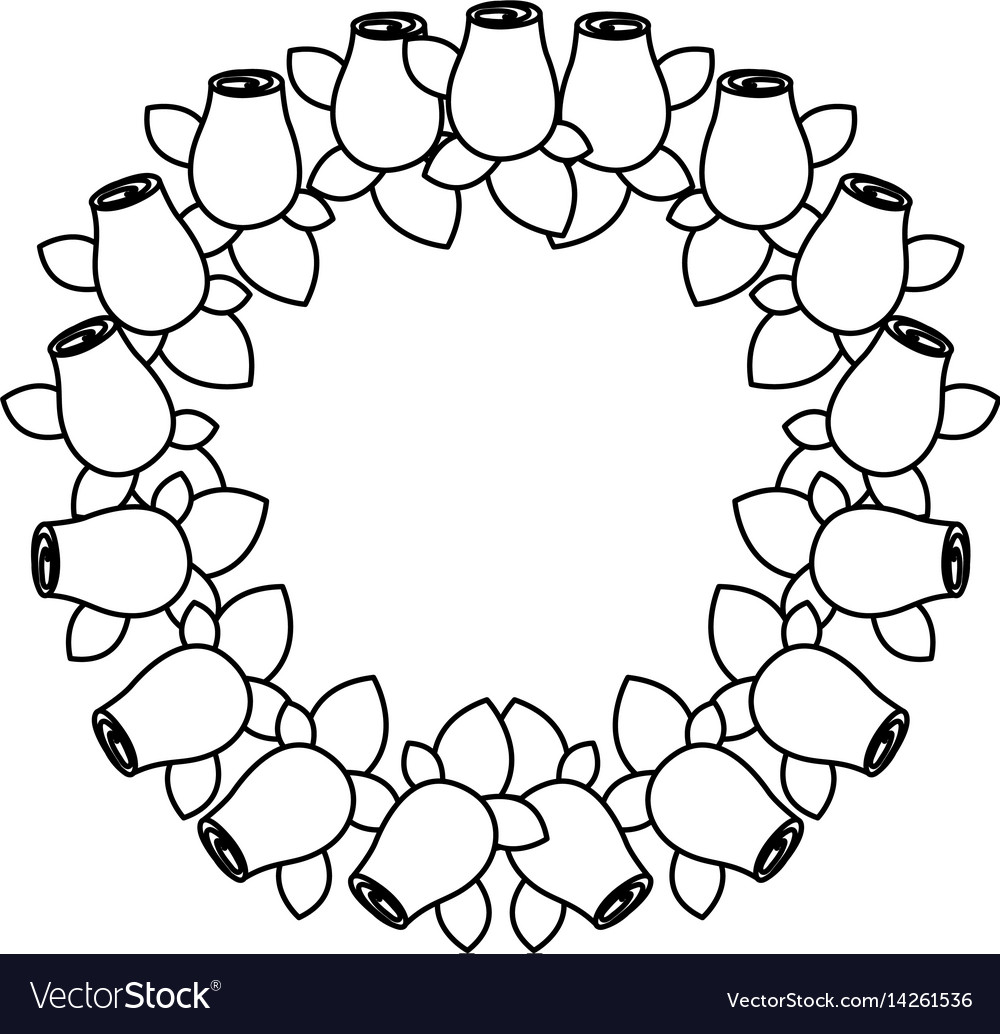 Silhouette crown drawing rosebuds with leaves