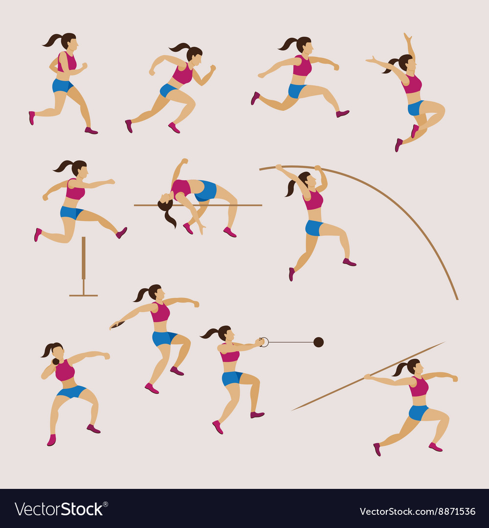 Sports Athletes Track and Field Women Set