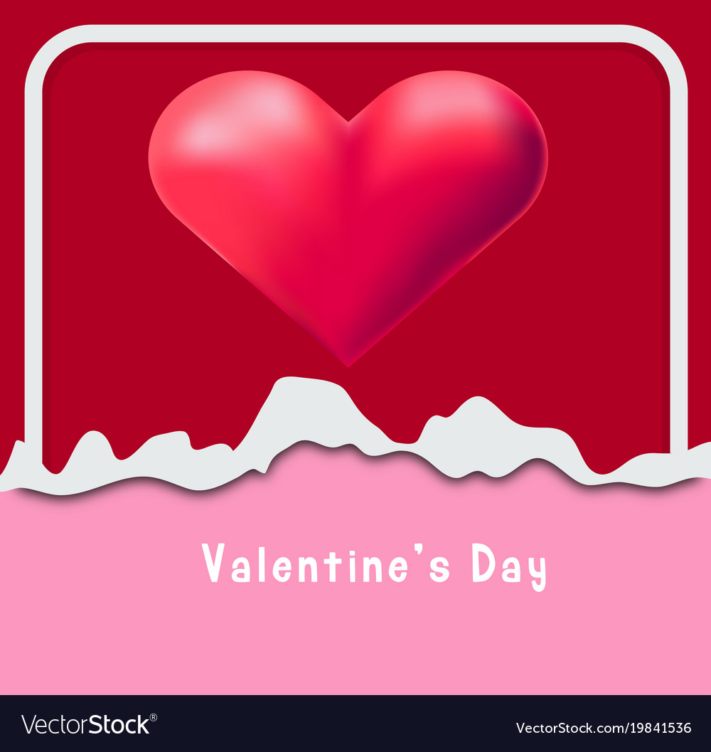 Valentine Card Template With Red Heart In Frame Vector Image
