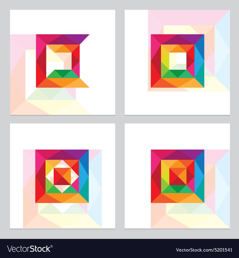 3d low polygon square logos