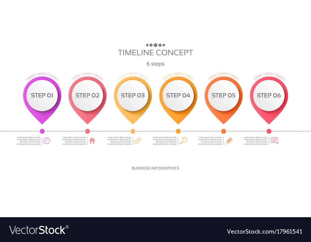 6 steps timeline infographic template royalty free vector