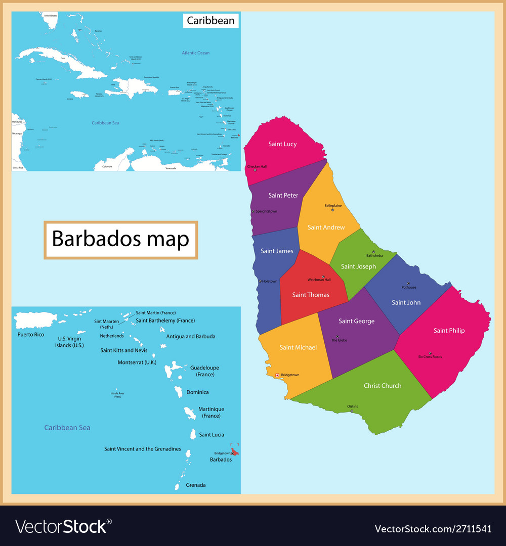 Barbados Map Royalty Free Vector Image VectorStock