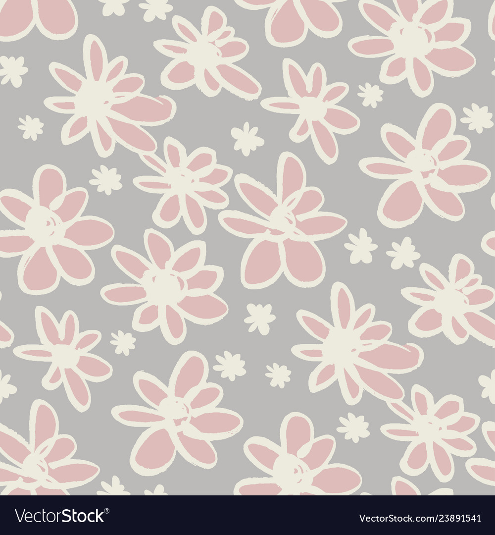 Daisy sketch color seamless pattern