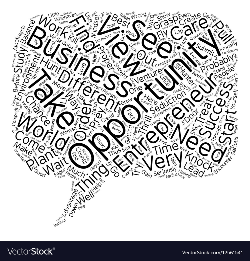 Entrepreneur business opportunity text background
