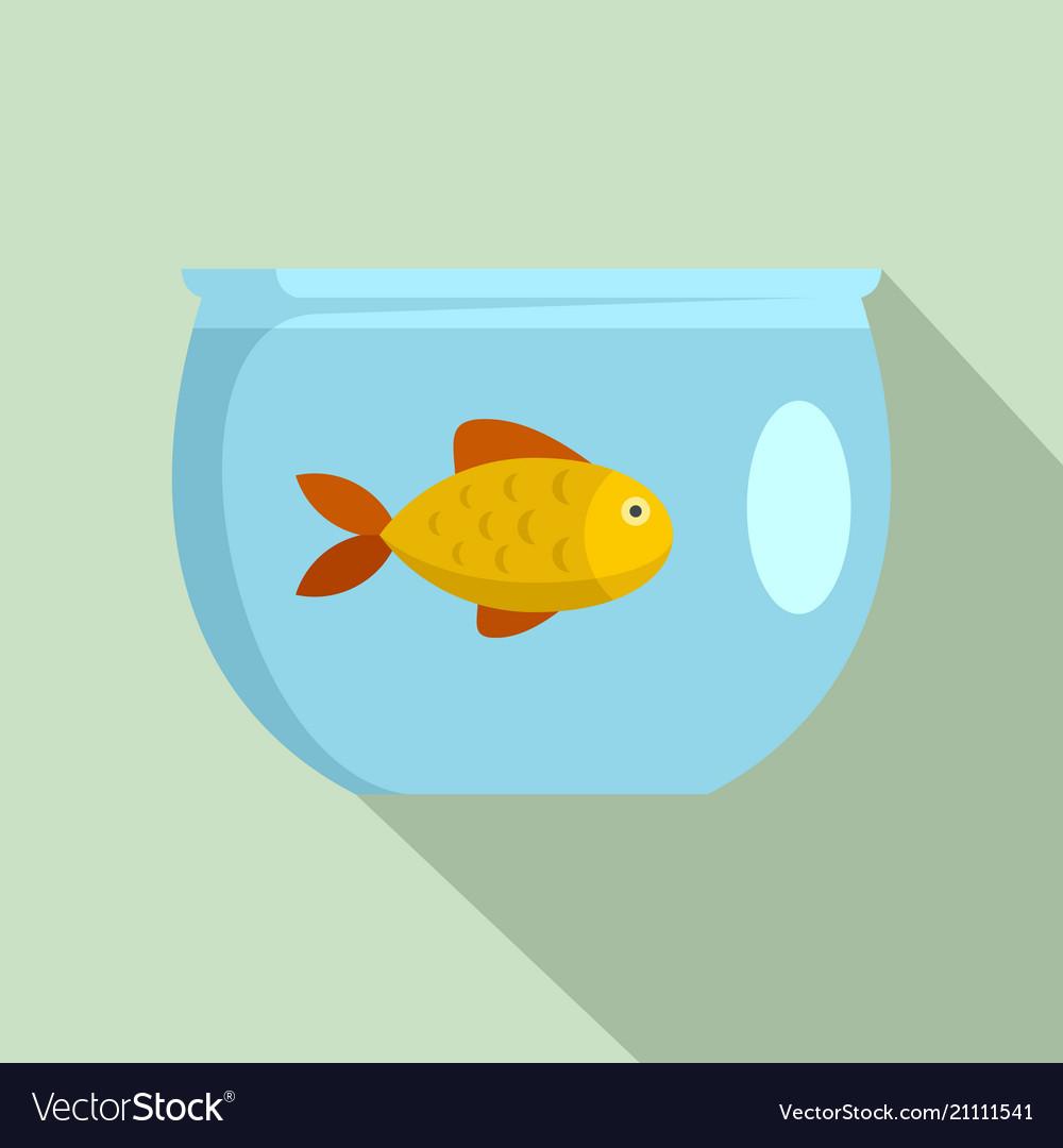 Fish in aquarium icon flat style