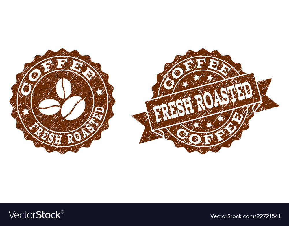 Fresh roasted coffee stamp seals with grunge