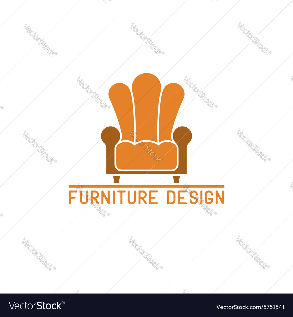 Furniture logo mockup armchair isolated chair icon