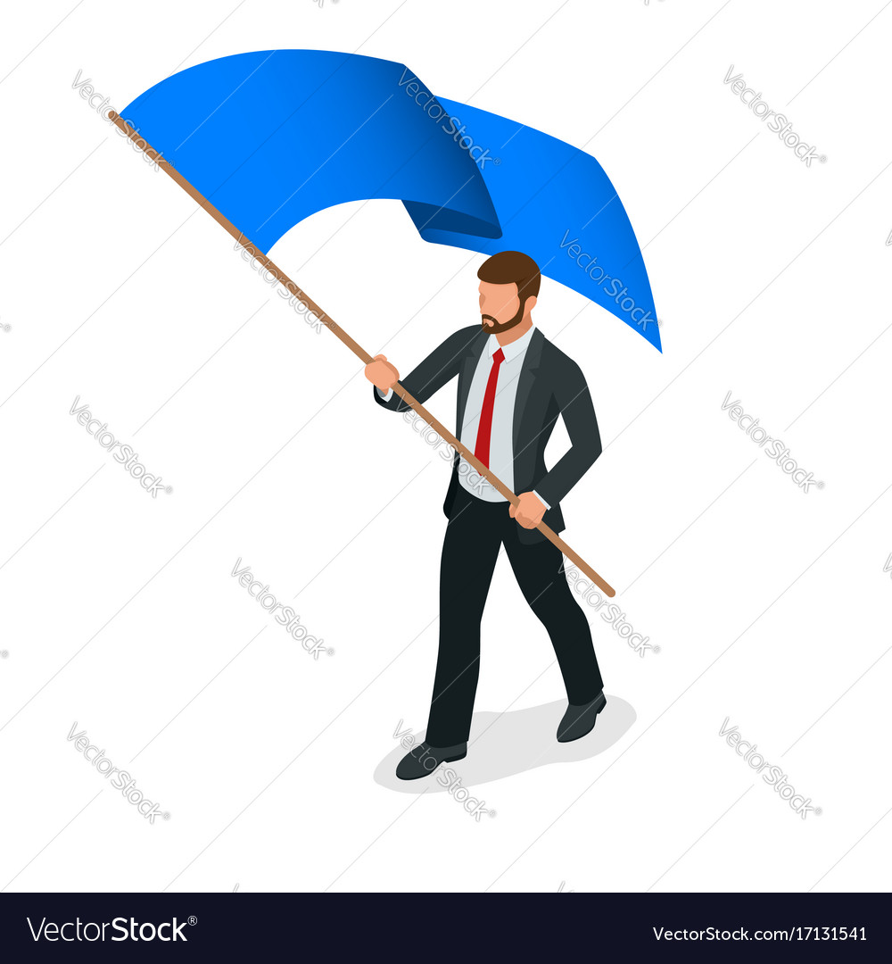 Isometric people man with blue flag isolated on