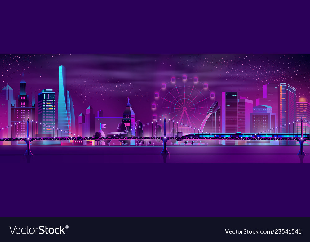 Modern city neon cartoon night landscape