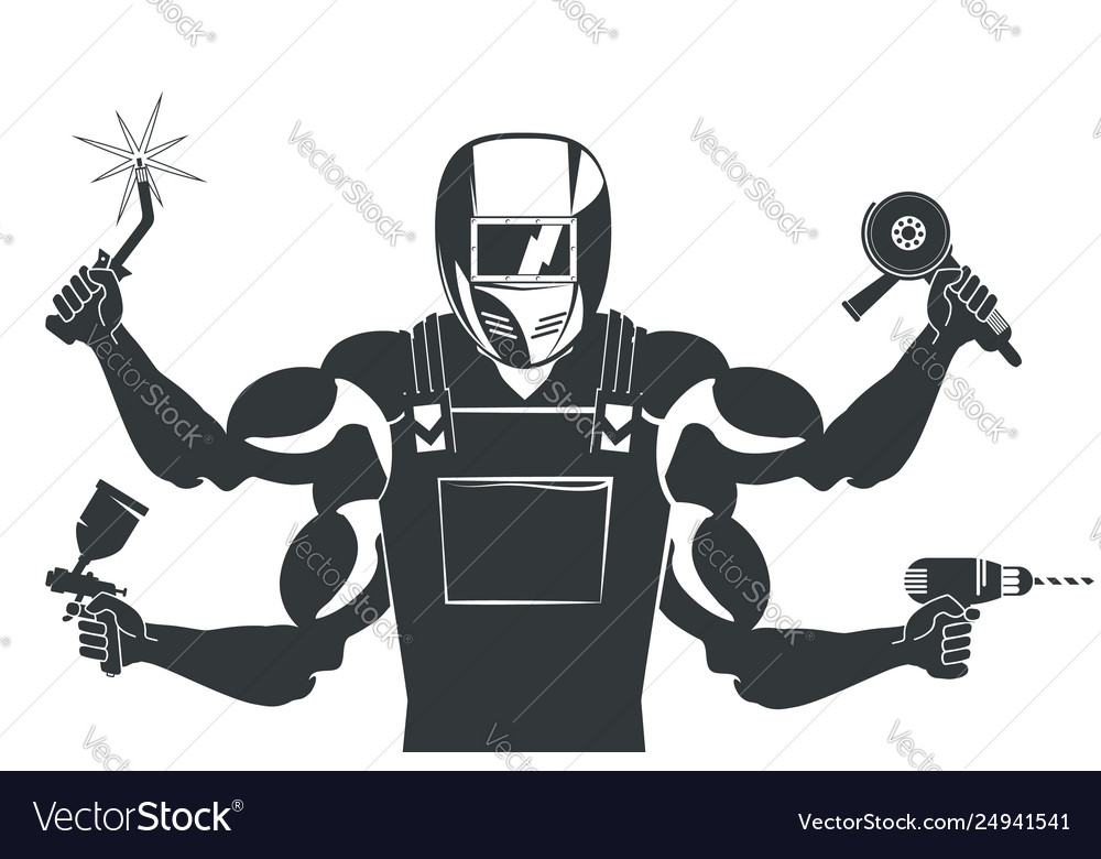 Welder With A Tool For Welding Royalty Free Vector Image