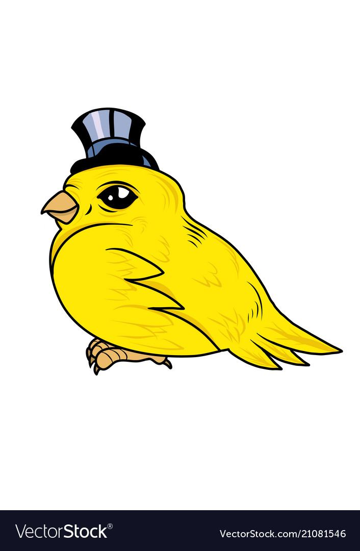 A cute canary bird with a top hat