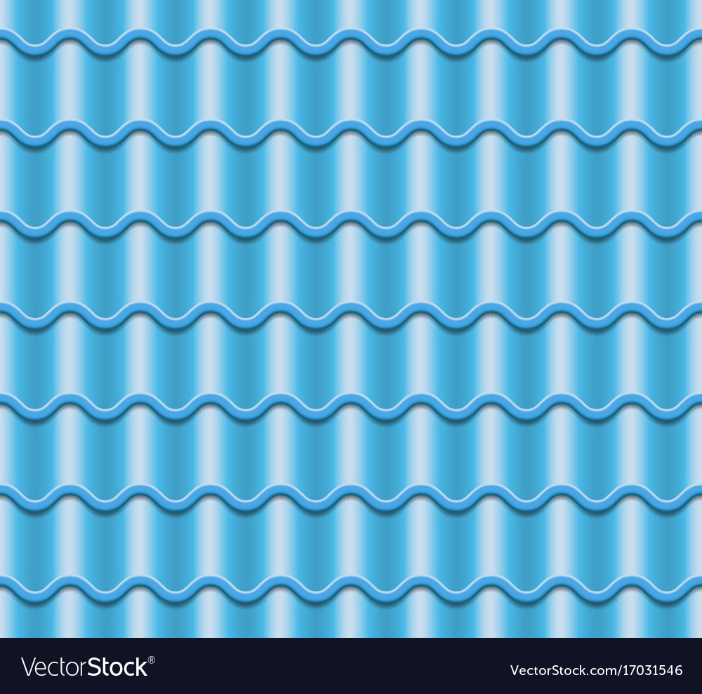 Blue corrugated tile element of roof vector image