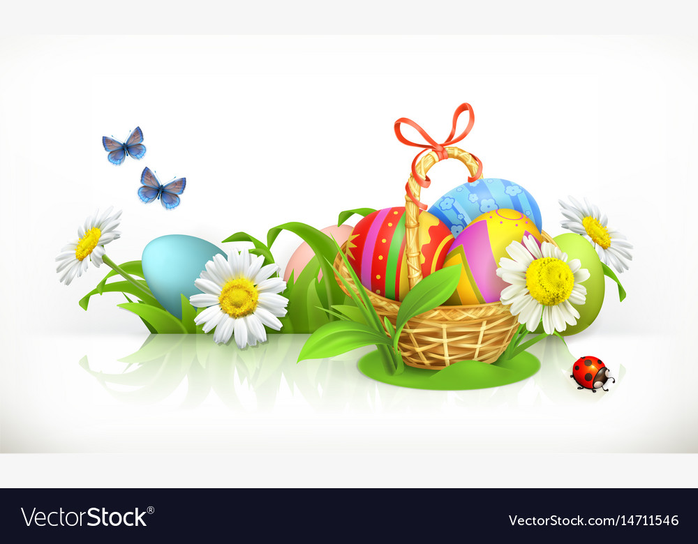 Easter basket and eggs spring flowers 3d banner