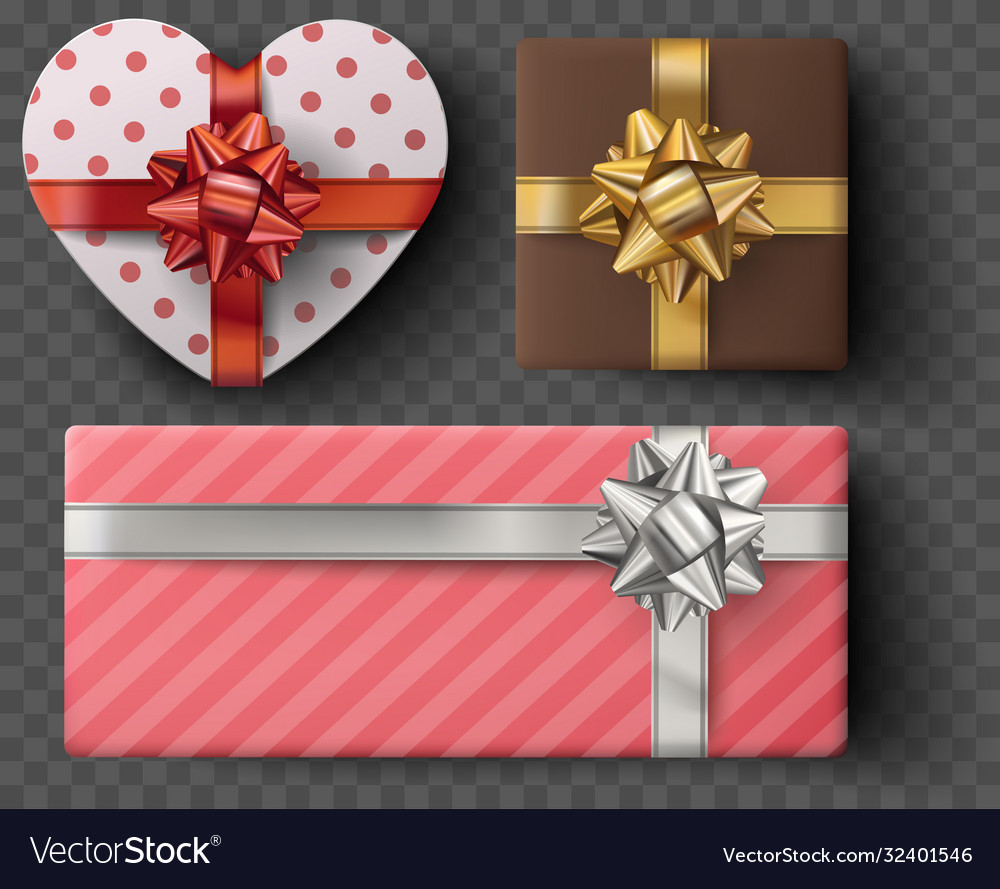 Gift box set with golden bow ribbons isolated on