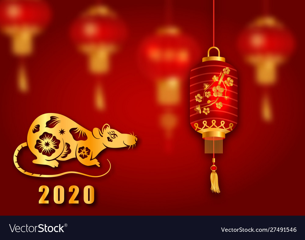 Happy chinese new year 2020 card with golden rat