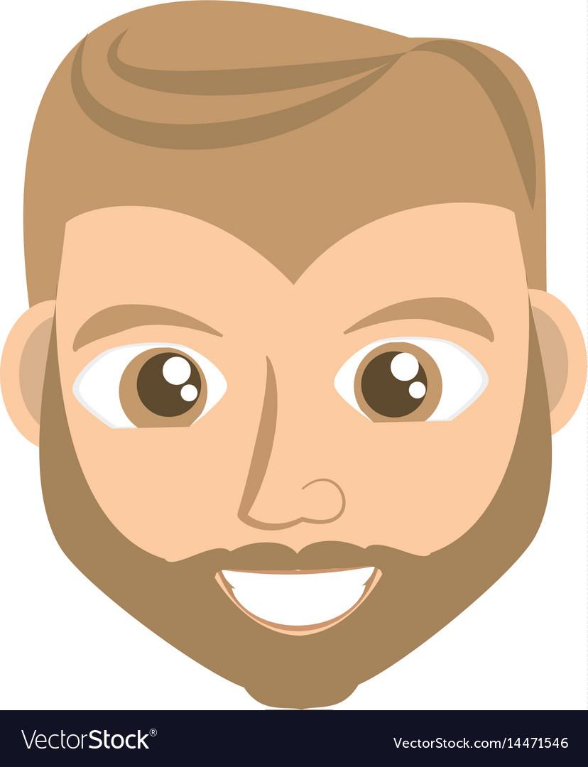 Happy man face cartoon