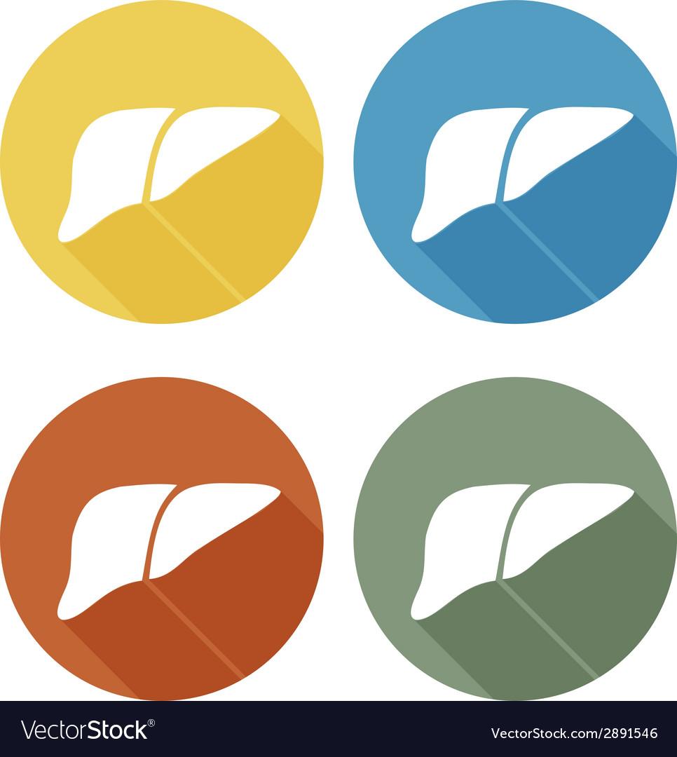 Human liver icon logo flat long shadow