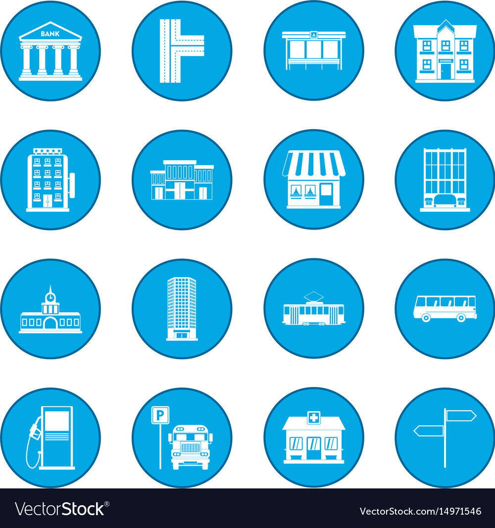 Infrastructure set icon blue