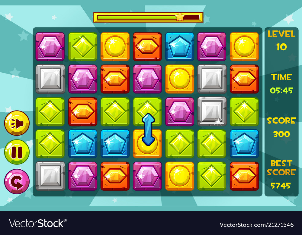 Interface gems match3 games multicolored
