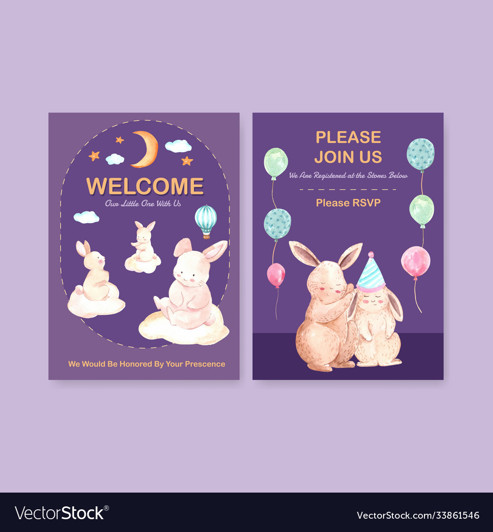 Invitation card template with baby shower design