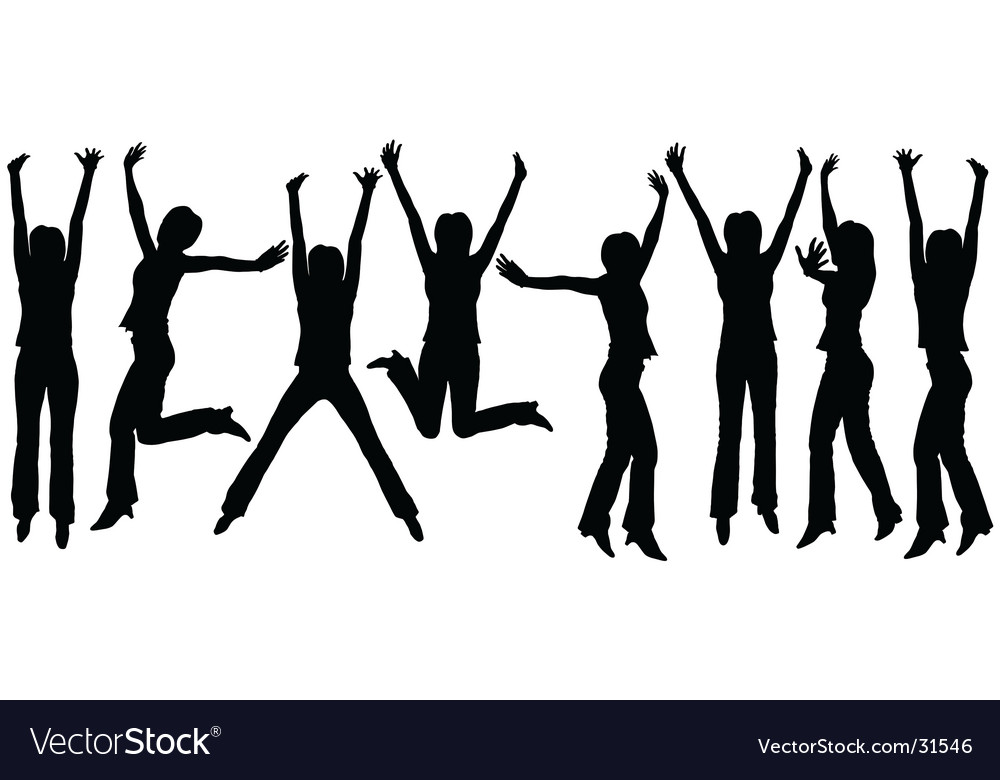 Jumping woman outlines vector image