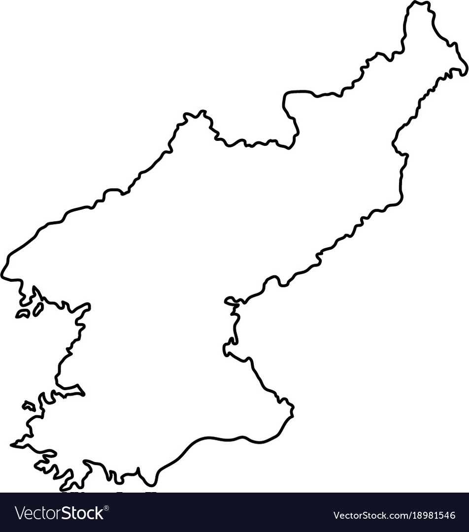 Picture of: North Korea Map Of Black Contour Curves On White Vector Image
