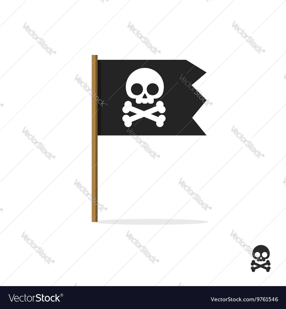 Pirate flag symbol icon skull crossbones
