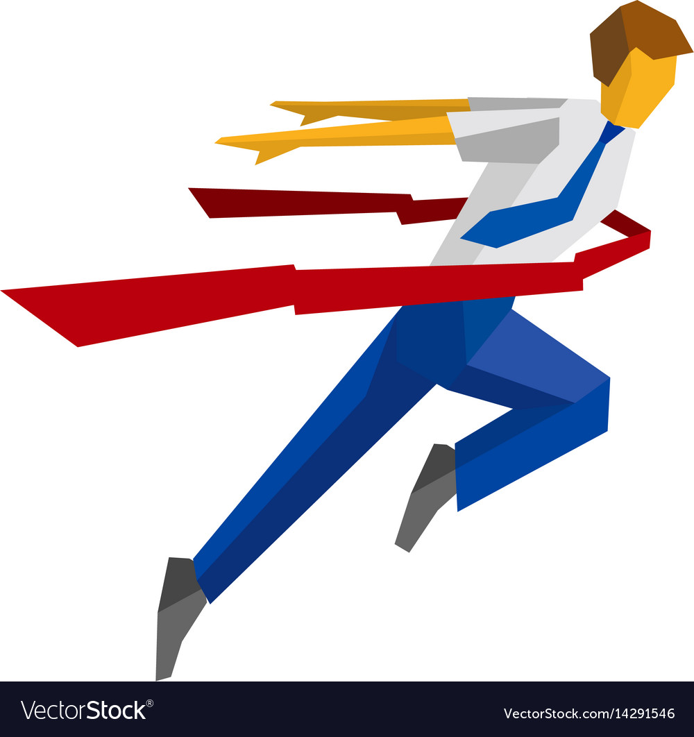 Running businessman crosses a finish line ribbon vector image