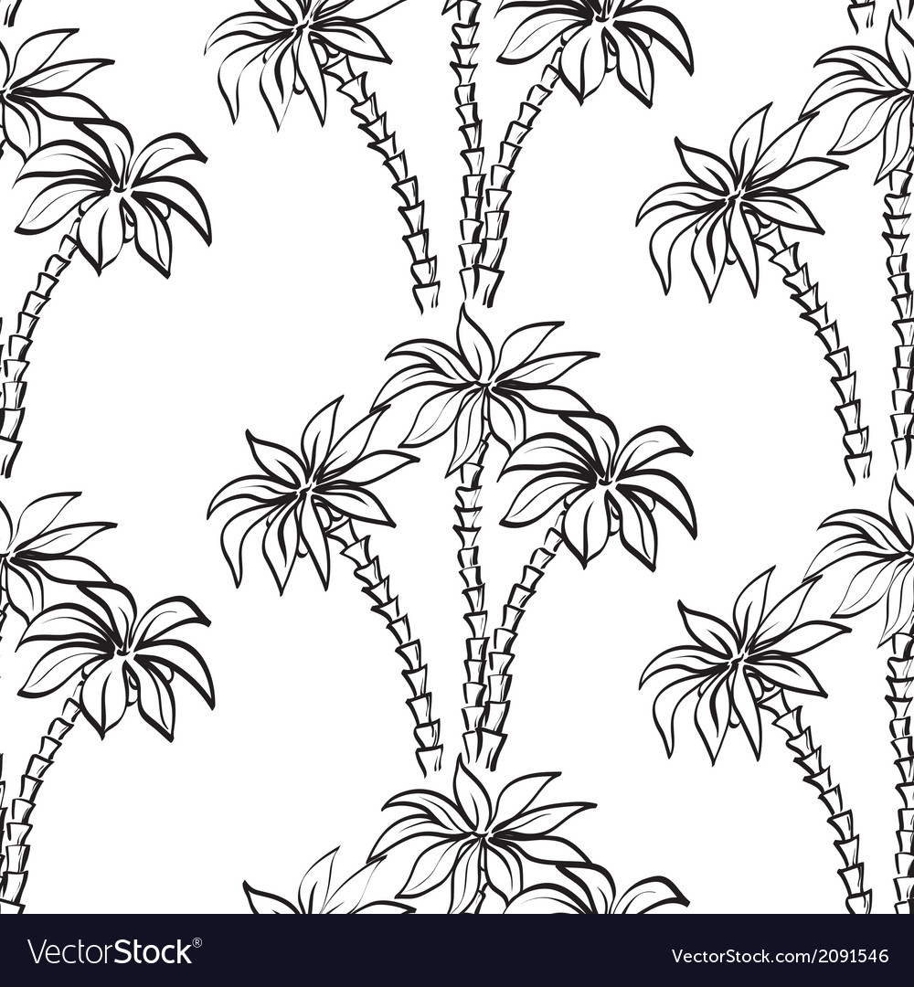 Seamless pattern palm trees contours