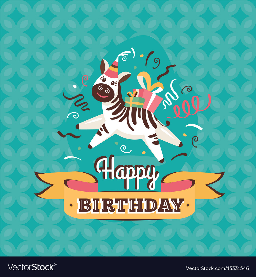 Vintage Birthday Greeting Card With Zebra Vector Image
