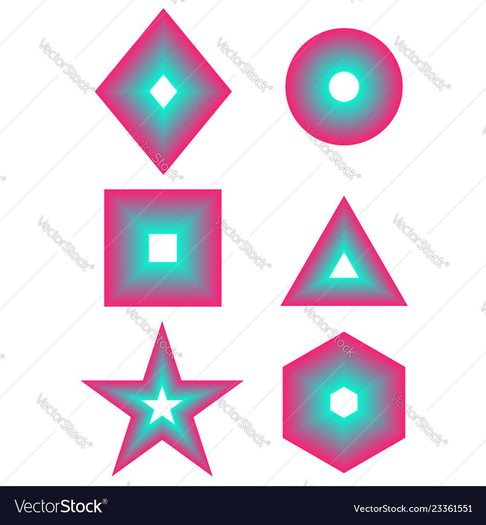 Basic simple gradient geometric shape set - square