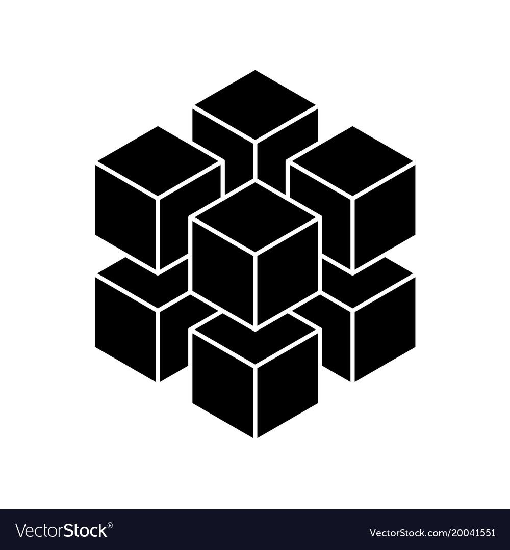 Black geometric cube of 8 smaller isometric cubes