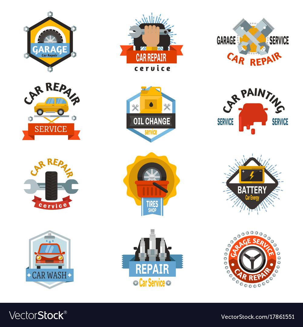 Car repair service logo auto badge emblems