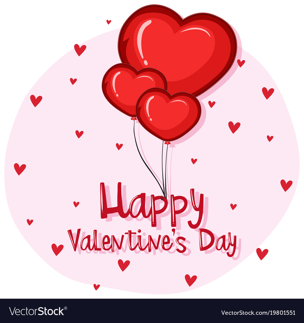 Card Template For Valentines Day With Heart Vector Image