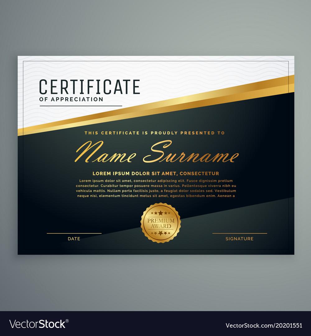 Certificate Design With Golden Stripe Vector Image On Vectorstock