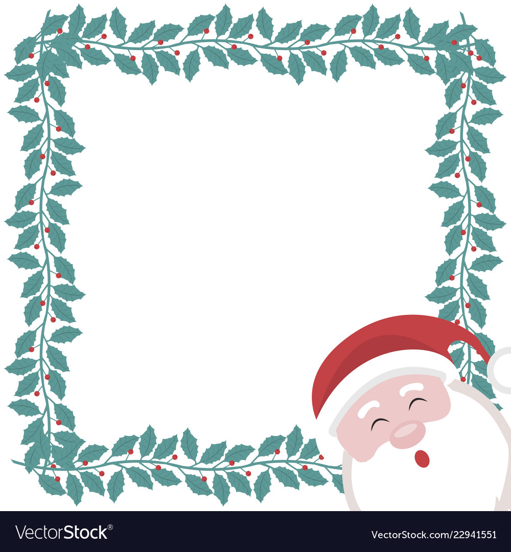 Christmas Card Frame.Christmas Card With Frame Of Holly Branches And Sa