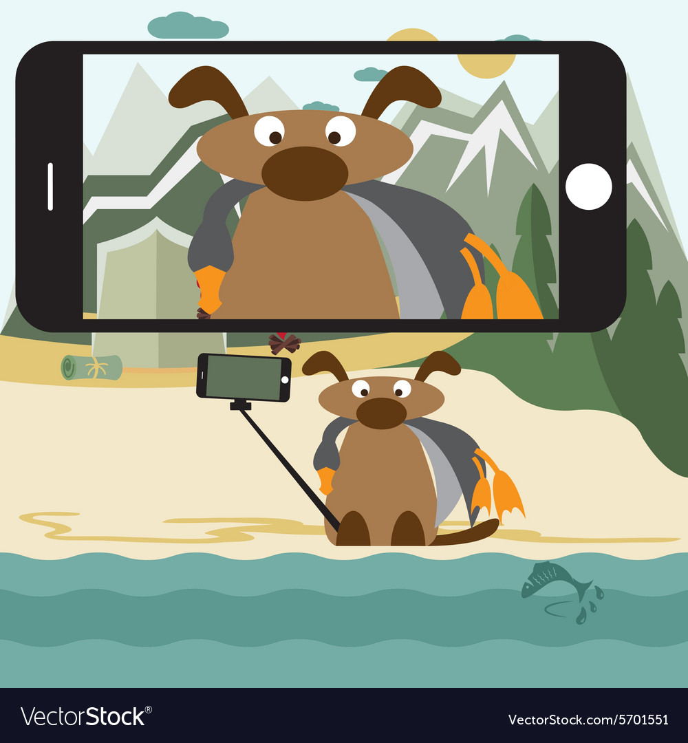 Concept flat design with dog and selfie stick